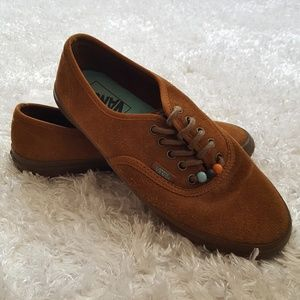 Vans brown leather suede native look with beads